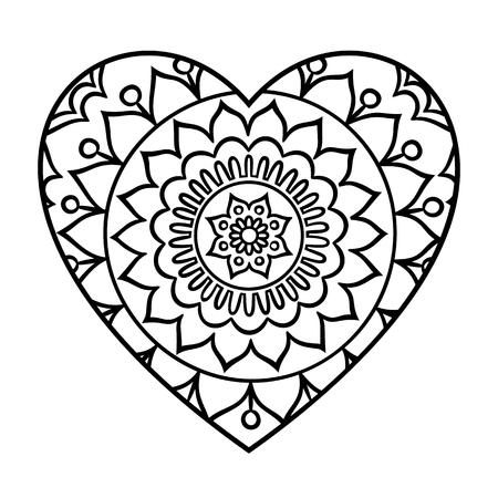 positive energy: Doodle heart mandala coloring page. Outline floral design element in a heart shape. Coloring book pattern. Decorative round flower.Love, acceptance, positive energy concept. Vector illustration.