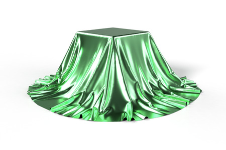 reveal: Box covered with green metallic fabric. Isolated on white background. Surprise, award, prize concept. Showroom stand. Reveal a hidden object. Raise the curtain. Photo realistic 3d illustration