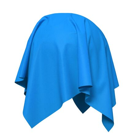 reveal: Sphere covered with blue silk fabric. Isolated on white background. Surprise, award, prize, presentation concept. Reveal the hidden object. Raise the curtain. Photorealistic 3d illustration