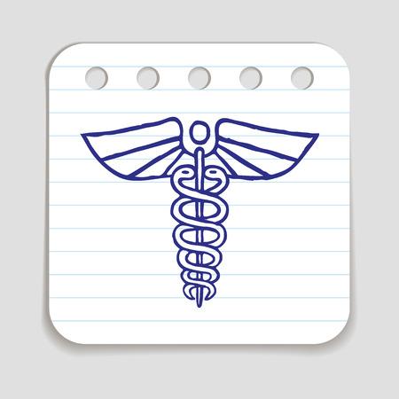 art piece: Caduceus emblem icon. Blue pen hand drawn infographic symbol. Notepaper piece. Line art style graphic element. Illustration