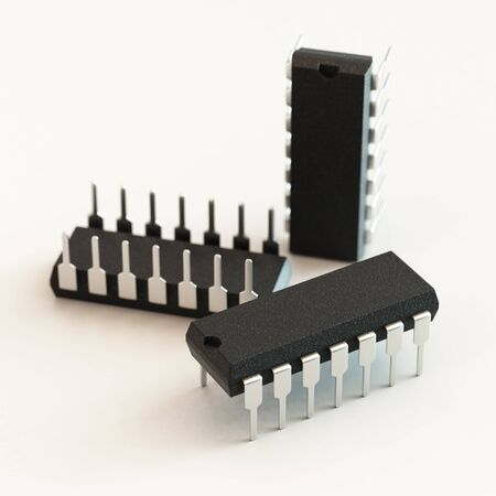 sop: DIP chip package. Technology, electronic industry, research and development, future gadgets concept