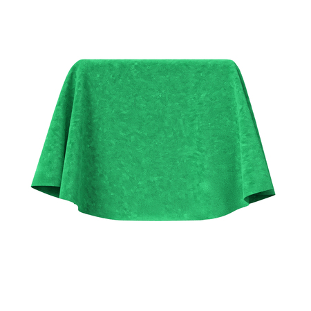 reveal: Box covered with green velvet fabric. Isolated on white background. Surprise, award, prize, presentation concept. Reveal the hidden object. Raise the curtain. 3d illustration. Stock Photo