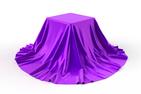 reveal: Box covered with violet fabric. Isolated on white background. Surprise, award, prize, presentation concept. Showroom stand. Reveal a hidden object. Raise the curtain. 3d illustration. Stock Photo