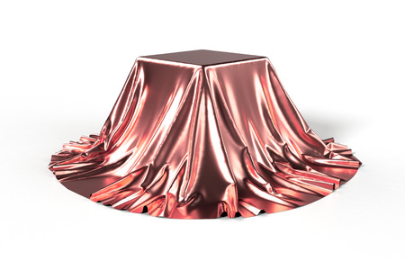 unveiling: Box covered with red fabric. Isolated on white background. Surprise, award, prize, presentation concept. Showroom stand. Reveal a hidden object. Raise the curtain. Photo 3d illustration. Stock Photo