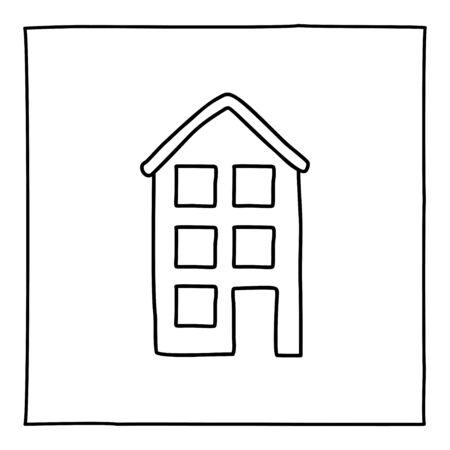 アパートの建物アイコンを落書き。フレームを黒と白のシンボル。ライン アート スタイル グラフィック デザイン要素。白い背景上に分離。不動産、建築、近代都市。