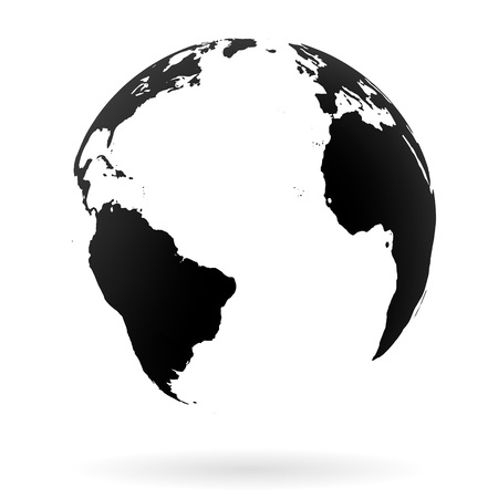 atlantic: Highly detailed Earth globe symbol, North and South Atlantic ocean. Black on white background. Illustration