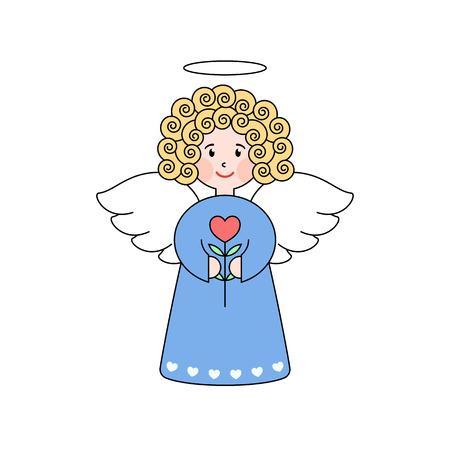 ángel del Doodle con un corazón. linda chica con alas. Tarjeta de felicitación romántica. elemento de diseño gráfico para la invitación de la boda y el bebé ducha, tarjeta del día de San Valentín. ángel de la historieta con la flor.