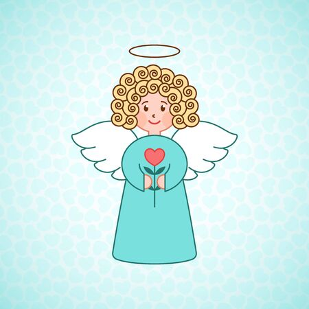 Doodle angel with a heart. Cute girl with wings. Romantic greeting card. Graphic design element for wedding and baby shower invitation, Valentines Day card. Cartoon angel with flower. Illustration