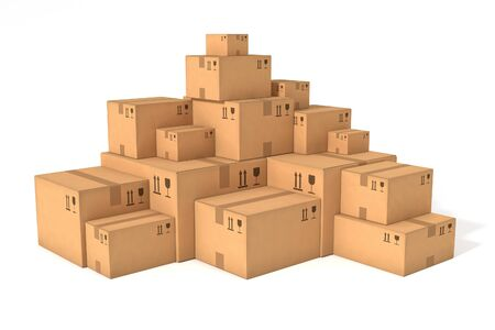 white boxes: Stacks of cardboard boxes