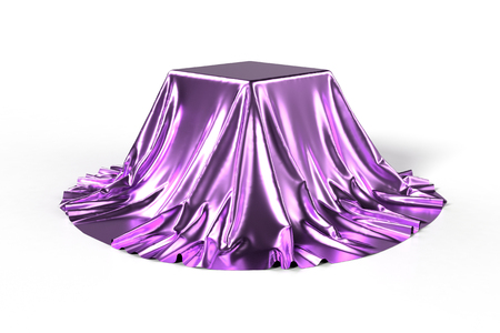 reveal: Box covered with shiny violet fabric isolated on white background. Surprise, award, prize, presentation concept. Showroom stand. Reveal hidden object. Raise the curtain. Photorealistic 3D illustration Stock Photo