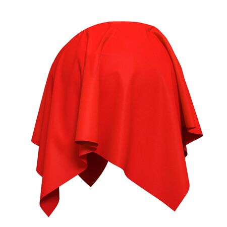 Sphere covered with red silk fabric. Isolated on white background. Reveal the hidden object. Raise the curtain. Surprise, award, prize, presentation concept. Photorealistic 3D illustration.
