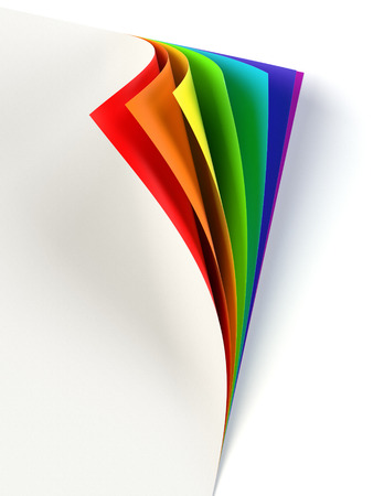 Blank document with rainbow colored curled corner Stock Photo
