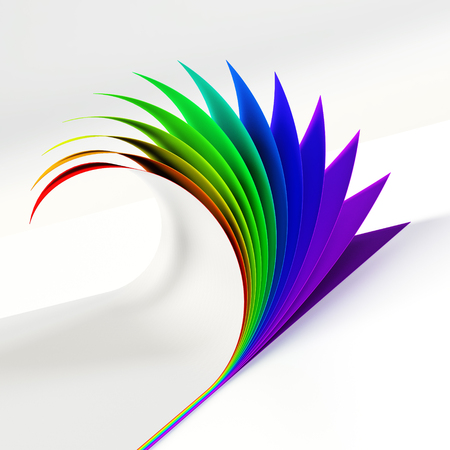 Rrainbow colored curled document corner side view Stock Photo
