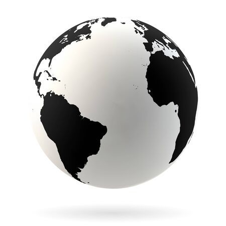 Highly detailed Earth globe symbol, Arabian countries, China, India. Black on white background.