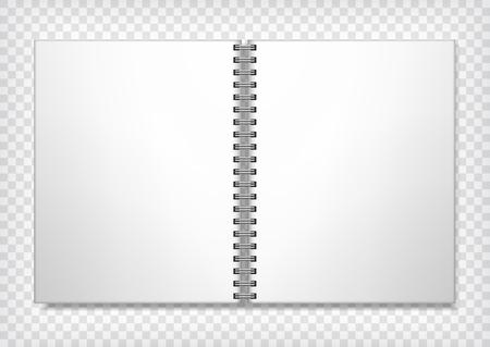 Maquette de cahier. Livre de croquis de liaison anneau vide. Ouvrez le livre d'art avec la place pour votre conception. Carnet de croquis vide maquette. Illustration vectorielle