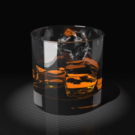 reflection of life: Whiskey with ice cubes in a tumbler glass