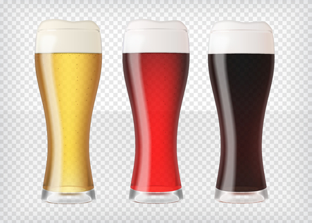 Realistic beer glasses set Illustration