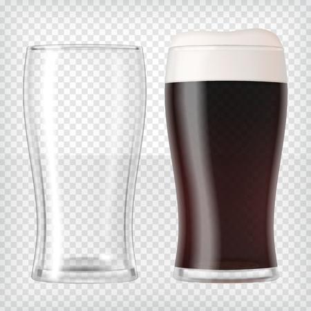 Realistic beer glasses - dark beer and empty mug Standard-Bild