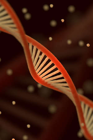 shallow: DNA chain macroshot. Highly detailed render. Dark key. Scientific background or medical backdrop. Great for poster, book cover, flyer or folder. Shallow DOF. 3D illustration