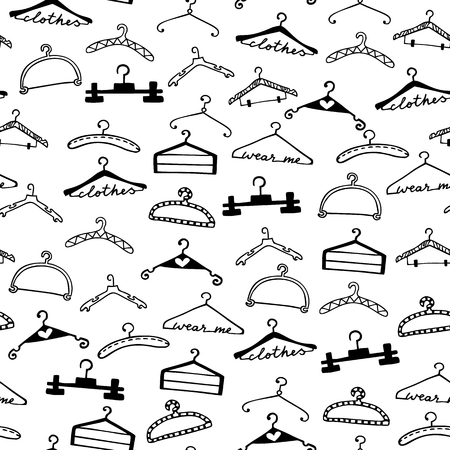 hangers: Doodle seamless clothes hangers pattern