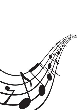 Notas de la música en el personal ondulado. Tamaño A4. Elemento del diseño gráfico para la tela, aviadores, impresiones, aviadores, impresiones. Resumen ilustración vectorial.