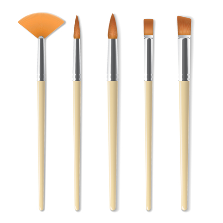 Realistic artist paintbrushes set