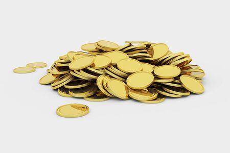 Golden coins pile Stock Photo
