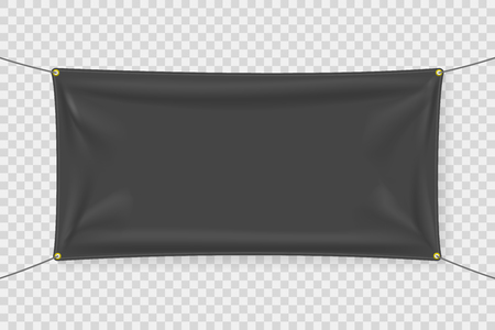 Black fabric banner template with folds 矢量图像