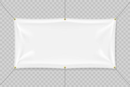 White textile banner mockup with folds Ilustração