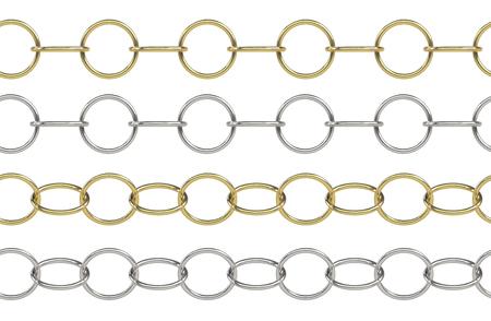 Naadloos gouden en zilveren rolo ketting met ronde elementen op wit wordt geïsoleerd
