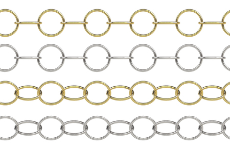 Seamless golden and silver rolo chain with round elements isolated on white Stock Photo - 79916063
