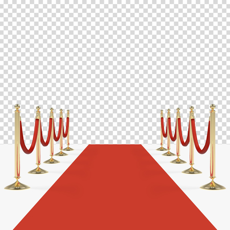Red carpet with red ropes on golden stanchions Ilustração