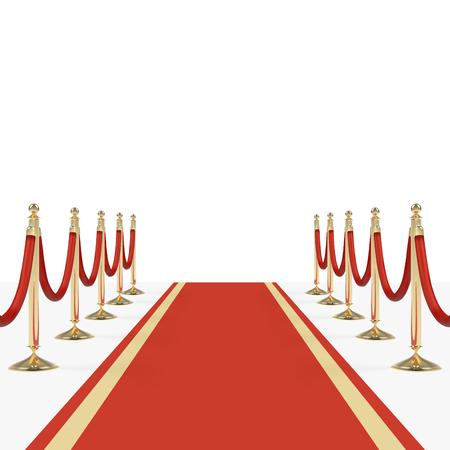Rood tapijt met rode touwen op gouden stanchions Stockfoto - 80715984