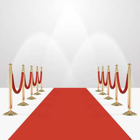 Red carpet with red ropes on golden stanchions Vectores