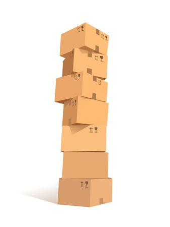 Cardboard boxes stacks Illustration