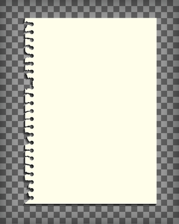 grid background: Empty notebook page with torn edge