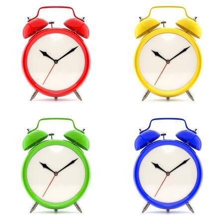 o'clock: Set of 4 colorful alarm clocks Stock Photo