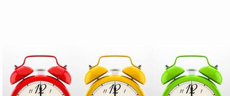 Set of 4 colorful alarm clocks Stock Photo