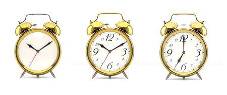 Set of 4 golden alarm clocks