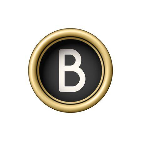 Letter B. Vintage golden typewriter button.