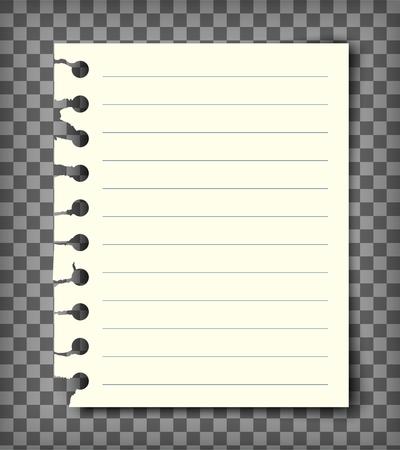 Lege gevoerde notitieboekpagina met gescheurde rand