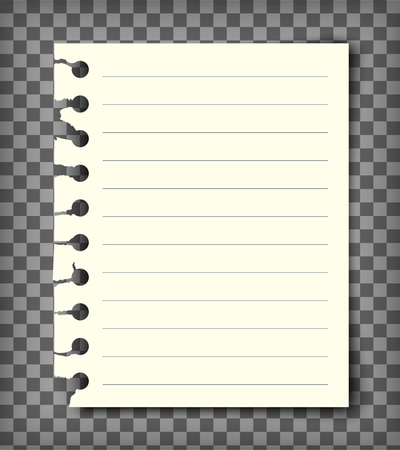Blank lined note book page with torn edge