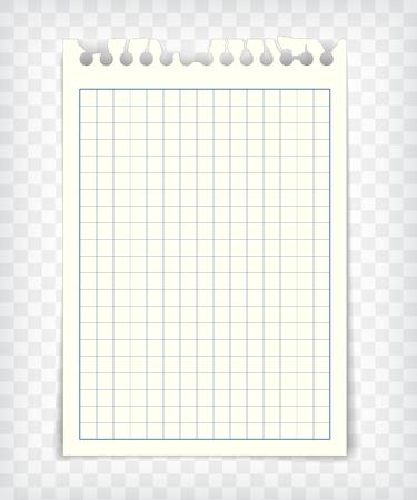 Carnet de notes à damier en blanc avec bord déchiré Banque d'images - 84920282