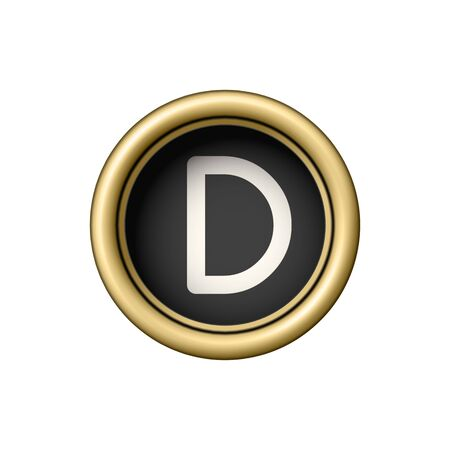 Letter D. Vintage golden typewriter button.