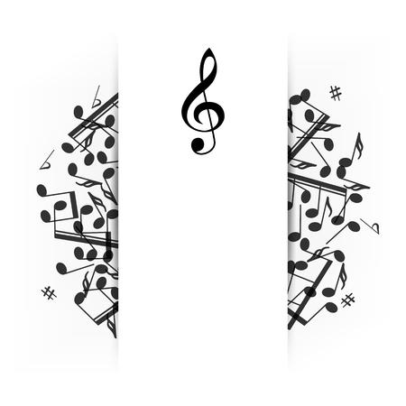 Bandera de música con sombra Ilustración de vector