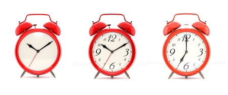 o'clock: Set of 3 alarm clocks isolated on white background. Vintage style red clock with clean face, numbers and ringing clock. Graphic design element. Deadline, wake up, happy hour concept. 3D illustration