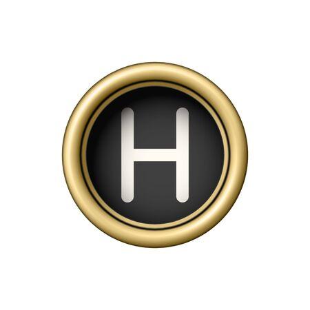 Vintage golden letter H typewriter button. Illustration