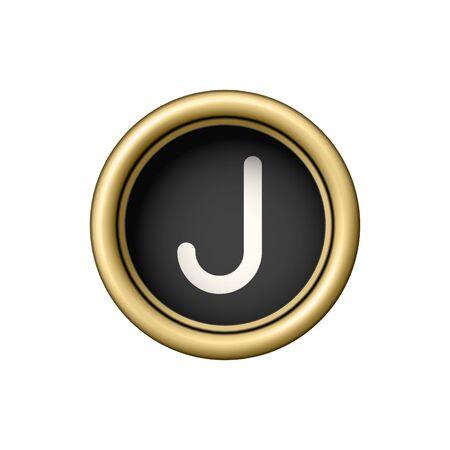 Bouton vintage de lettre d'écriture Golden Letter J. Banque d'images - 86729188