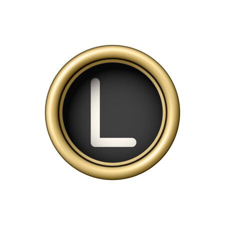 Bouton de lettre d'or Vintage L machine à écrire. Banque d'images - 86729190