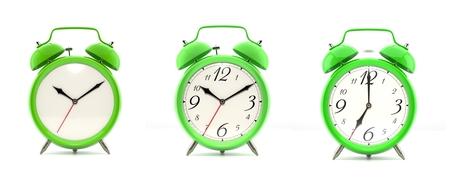 Set of 4 green alarm clocks